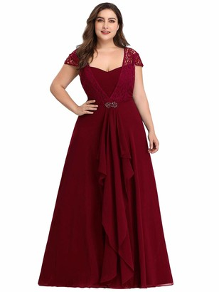 Ever Pretty Ever-Pretty Women's Sweetheart Lace Cap Sleeve Floor Length A Line Empire Chiffon Plus Size Wedding Guest Dresses Navy Blue 24UK