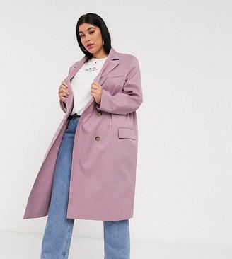 ASOS DESIGN Curve classic crepe coat in mauve