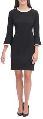 Tommy Hilfiger Scuba Crepe Border Bell Sleeve Dress