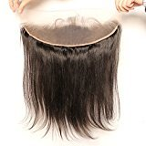 Vogue Queen Italian Yaki Straight 13x4 Ear to Ear Full Lace Frontal Closure with Baby Hair Brazilian Virgin Human Hair Natural Color Slightly Bleached Knots (18 inches)