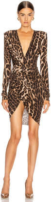Alexandre Vauthier for FWRD Plunging Ruched Mini Dress in Animal | FWRD
