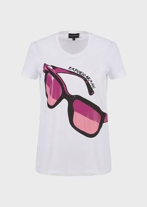 Emporio Armani Pima Jersey T-Shirt With Shiny Eyeglasses Print