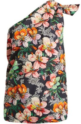 Isabel Marant Noor One-shoulder Floral-print Top - Womens - Navy Multi
