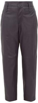 Brunello Cucinelli High Rise Tapered Leather Trousers - Womens - Navy