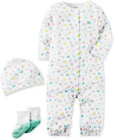 Carter's 3-Pc. Cotton Floral-Print Hat, Coverall & Socks Set, Baby Girls