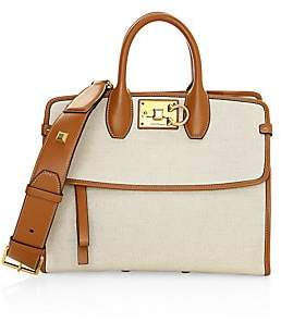Salvatore Ferragamo Women's Small Studio Leather-Trimmed Canvas Top Handle Bag