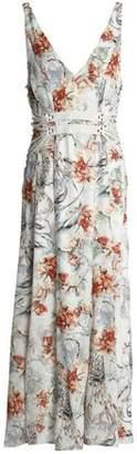 Haute Hippie Lace-up Printed Silk Midi Dress
