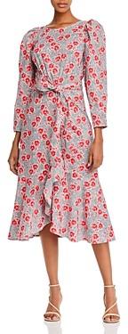Rebecca Taylor Floral Print Puff Sleeve Midi Dress