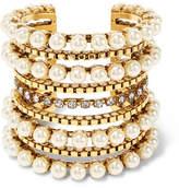 Erickson Beamon Awaken Gold-plated, Faux Pearl And Swarovski Crystal Cuff