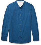 Officine Generale Gaspard Grandad-collar Cotton-dobby Shirt - Indigo