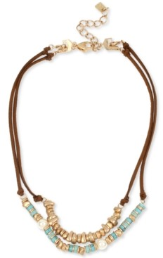 """Robert Lee Morris Soho Gold-Tone Beaded Double-Row Convertible Suede Necklace, 16"""" + 2"""" extender"""