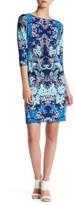 London Times T2714MNR Quarter Sleeve Bateau Floral Dress