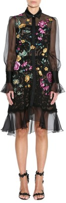 Marchesa Damask Lace Floral Embroidered Shirtdress