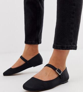 Asos DESIGN Wide Fit Links mary jane ballet flats in black