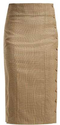 Hillier Bartley Houndstooth Wool Wrap Skirt - Womens - Brown Multi