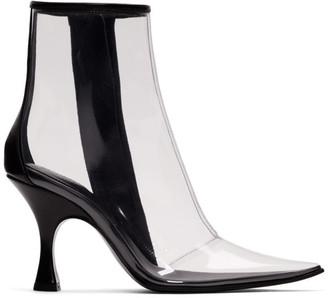 MM6 MAISON MARGIELA Black and Transparent PVC Ankle Boots