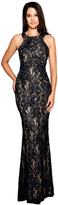 Cachet 58250Z Black Embellished Lace Long Dress