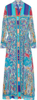 Etro Printed Crinkled Silk-chiffon Maxi Dress - Blue