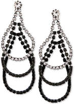 Say Yes to the Prom Hematite-Tone Clear & Jet Crystal Multi-Oval Drop Earrings