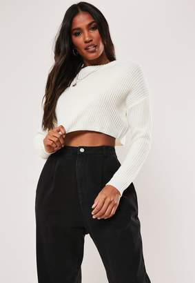 Missguided Petite White Super Cropped Basic Knitted Jumper
