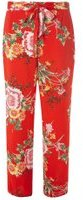 Dorothy Perkins Womens Red Oriental Palazzo Trousers- Red