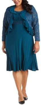 R & M Richards Plus Size Lace-Trim Dress & Ruffled Lace Jacket