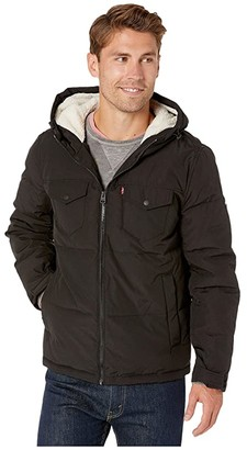 Levi's Hooded Puffer with Sherpa Lining (Black Solid) Men's Clothing