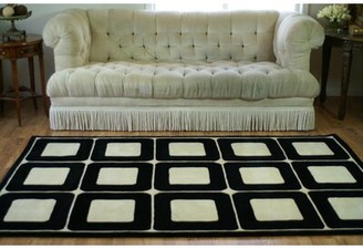 """American Home Rug Co. Casual Contemporary Blocks HandTufted Wool Ivory/Black Area Rug Rug Size: 3'6"""" x 5'6"""""""