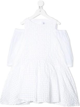 Simonetta Cold-Shoulder Flared Dress