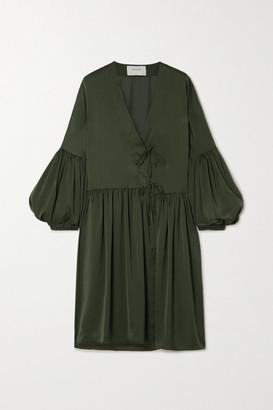 MUNTHE Edder Tie-detailed Satin Mini Dress - Army green