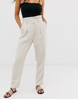 New Look utility paperbag pants in stone