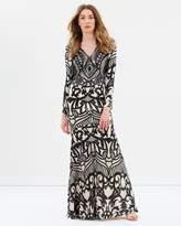 Diamond Long Sleeve Pattern Sequin Gown