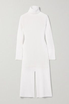 Tibi Flo Ribbed Wool-blend Turtleneck Midi Dress - Ivory