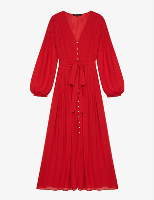 Maje Rochi pleated crepe midi dress