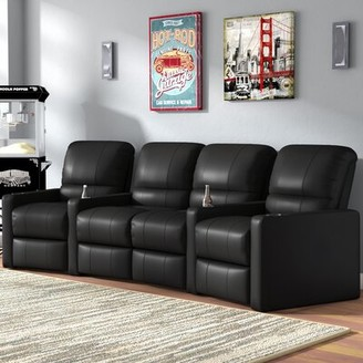 Center Home Theater Curved Row Seating (Row of 4) Latitude Run Reclining Type: Manual, Body Fabric: Smartsuede Onyx
