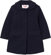 Il Gufo Navy Wool Coat with Flower Buttons