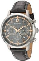 Nautica Men's 'NCT 15 CHRONO' Quartz Stainless Steel and Leather Casual Watch, Color:Grey(Model: NAD16524G)
