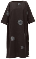 eskandar Scattered Disc Shibori-dyed Cotton Tunic Dress - Womens - Black