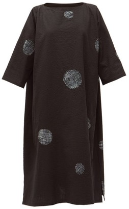 eskandar Scattered Disc Shibori-dyed Cotton Tunic Dress - Black