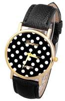 ABC Women's Watch Polka Dot Dial Quartz Trend Leather Strap Analog Watch (black)