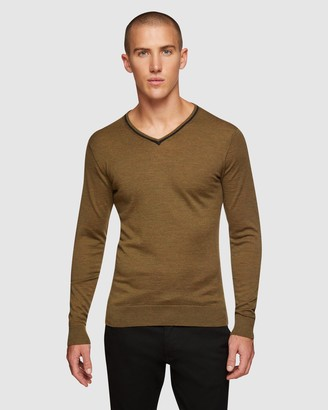 Oxford Perry Tipping V-neck Wool Pullover