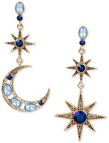 Betsey Johnson Gold-Tone Moon and Stars Stone Mismatch Earrings