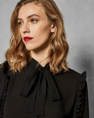 Ted Baker Ruffle Sleeve Tie Neck Blouse