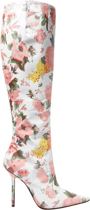 Vetements Floral-print Leather Knee Boots