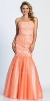 Dave and Johnny Strapless Embellished Trumpet Prom Dress