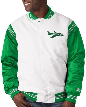 Men's Starter White/Green New York Jets Historic Logo Renegade Satin Varsity Full-Snap Jacket