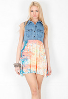 One Teaspoon Young Blood Denim Dress in Speckle