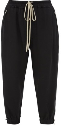 Rick Owens Cropped Drawstring Jersey Track Pants - Black