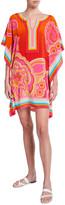 Trina Turk Theodora Floral Print Multi-Stripe Silk Dress