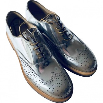 Alexander McQueen Silver Leather Lace ups